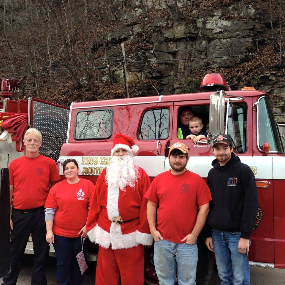 Our friends at feeds creek fire dept with Santa